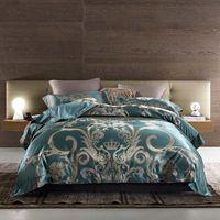 königsgröße royal blau bettwäsche gesetzt großhandel-Blue Golden Satin Jacquard Luxus Royal Bettwäsche-Set Königin King Size Silk Cotton Quilt / Bettbezug Bettlaken / Leinen Set Kissenbezug