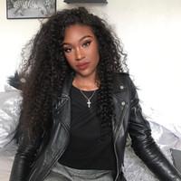afro bebek saç dantel perukları toptan satış-Dantel Ön İnsan Saç Peruk Bebek Saç Ile 7A Afro Kinky Kıvırcık Brezilyalı İnsan Saç Siyah Kadınlar Için Tam Dantel Peruk