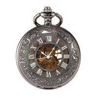 erkekler için siyah cep saatler toptan satış-Erkekler Ajur Desen No. 3 Mekanik Cebi Siyah Kabuk Siyah Yüzey Roma Koyu Gümüş İskelet Cebi Dropshipping