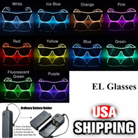 Wholesale shutter glowing sunglasses resale online - Simple EL glasses El Wire Fashion Neon LED Light Up Shutter Shaped Glow Sun Glasses Rave Costume Party DJ Bright SunGlasses LJO7136