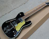e-gitarre schwarzer tremolo großhandel-2019 neue Factory Black E-Gitarre mit Gold Pickguard, Chrom Hardware, Palisander Griffbrett, HH Pickups, Tremolo System, kann angepasst werden