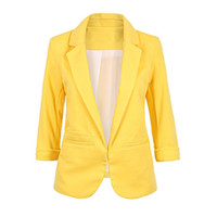 ingrosso giacche gialle di donne-2018 Autunno Donna Giallo Bianco Rosso Casual Slim Blazer Donna Giacca Cappotto Blazer Donna 3/4 Sleeve Business Suit # 409030