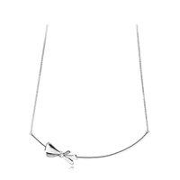 colares de prata venda por atacado-925 Sterling Silver Bowknot Cadeia Colares para Pandora Bow CZ pulseira de diamantes com Caixa Original para As Mulheres Meninas Frete grátis