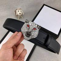 ingrosso antiquariato di qualità-Moda alla moda in ottone anticato Tiger Head Designer Cinture Cinture di lusso Uomo Donna Cintura Animale Fibbia liscia Larghezza 38mm Alta qualità con confezione regalo