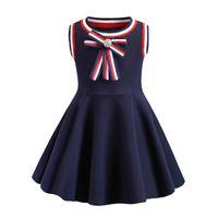 neue art sommerkleider groihandel-Mädchen kleiden Sommer 2019 INS neues Baby-sleeveless Freizeitart-große Bogenqualitätsbaumwollmädchenkleid-Entwerfer-Kinderkleidung