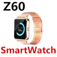 Wholesale stainless watches packs resale online - Z60 Smart Watch Phone Stainless Steel Bluetooth Dial Answer Call Support SIM TF Card Camera Fitness Sleep Tracker Waterproof Android Pack