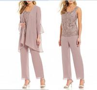 roupas de negócio rosa para mulheres venda por atacado-Empoeirado Rosa Mulheres Formais Mãe Calças Ternos Mãe da Noiva Ternos de Calça Escritório Senhora de Negócios Jaqueta Para Festa de Casamento Nupcial Desgaste da Noite