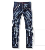 Wholesale whisker jeans for sale – denim Men s Europe America and South Korea version of the new personality slimming straight tube cat whisker jeans small feet trousers