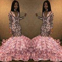 ingrosso abiti da sera rosa oro-Mermaid Paillettes applique Bottom Flowers Abiti da sera 2019 Rose Gold Pink scollo a V 3D Floral Rose African Occasion Prom Dresses abiti da sera