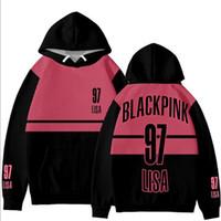 pink clothing al por mayor-Moda coreana BLACK PINK KPOP BLACKPINK Álbum JENNIE LISA ROSE JISOO Estampado de mujeres Sudaderas con capucha Sudaderas Ropa exterior 3D