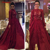Wholesale modest floor length formal dresses resale online - Modest Dark Red Lace Mother Dresses A Line Bateau Neckline Long Sleeve Appliqued Formal Evening Gowns Pageant Party Wears Custom Made
