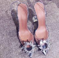 zapatos de gelatina de marca al por mayor-Verano Mujer Zapatos de gelatina de punta puntiaguda Moda Nueva marca Brillante Rhinestone Lady Wedding Party Sandalias de tacón alto