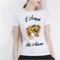 camisas de tigre de moda al por mayor-Nueva camiseta de algodón 100% para mujer, moderna y encantadora camiseta de Tiger Graffiti, camiseta impresa para hombre, camiseta de confort para el ocio 2019