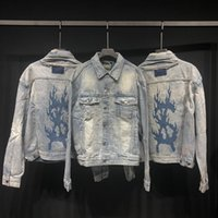 Wholesale patchwork knife for sale - Group buy 18FW Fashion Jacket TravisottXKsubi Flaming Dollar Flame Embroidered Washing Damaged Knife Cut Denim Jacket Men And Women Jacket HFBYJK231