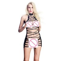 Wholesale sexy leather women costumes resale online - Bandage Women Hollow Out Faux Leather Sexy Black Mini Dress Hollow Out Clubwear Fetish Costume New