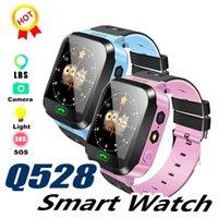 lb de iluminação venda por atacado-Q528 relógio inteligente para crianças inteligente Pulseira LBS Rastreador SOS com Luz Anti Perdido Pulseira com câmera cartão SIM para IOS Android na Caixa