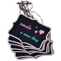 materiais de tabuleiro venda por atacado-12 pçs / lote corda pendurado retângulo Chalkboards Mini Escrita Material para Mensagem Nota Placa Sinais (cor: preto)
