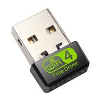 adaptador usb dongle wifi venda por atacado-USB cartão adaptador de rede WiFi Driver livre 150Mbps Para PC Ethernet Dongle 2.4G Antena Wi Fi Receiver Windows XP WIN7 WIN8 WIN10