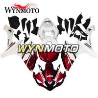 yamaha r1 abs plastik motosiklet toptan satış-Yamaha YZF 1000 R1 2007 Için tam Motosiklet Marangozluk 2008 Beyaz kırmızı ABS Plastik Enjeksiyon motosiklet kılıfları kapakları