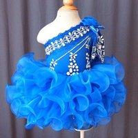 baby blau brautkleider großhandel-Eine Schulter Königsblau Blumenmädchen Kleid Baby Kleinkind Kleinkind Kinder Kinder Mädchen Pageant Kleid für Geburtstag Hochzeit Braut Party