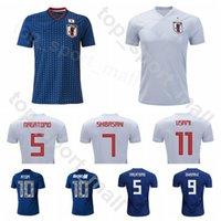 homens uniformes japoneses venda por atacado-Japão Futebol 4 Keisuke Honda Jersey Homens Japoneses 18 Shinji Okazaki 10 Shinji Kagawa Camisa de Futebol Kits Uniforme 2018 2019 Número De Nome Personalizado