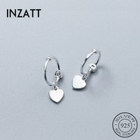 Wholesale sterling charm hoops for sale - Group buy INZA2019 Cute Heart Hoop Earrings For Charm Women Wedding Party Rose Gold Color Sterling Silver Fashion Jewelry Gift