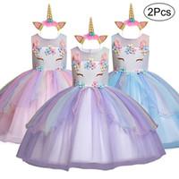yapraklar çocuklar giyim toptan satış-2019 Unicorn Çocuklar Kız Elbise Doğum Günü Partisi Elbise Kız Petal Gelinlik Töreni Olaylar Childrenes Yaz Giyim