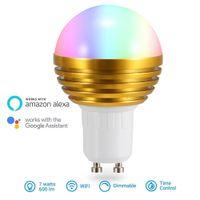 ingrosso oro 7w-Lampadina WiFi Smart Light RGBW App Voice Bulbi telecomando intelligente LED Decorative 7W Oro Argento lampadine