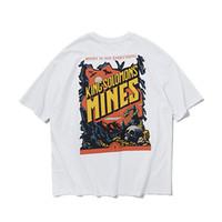 komik gömlek çift toptan satış-Yüksek Sokak 2019 Yaz Komik Baskılı Vintage Kısa Kollu T-Shirt O-Boyun Pamuk Streetwear Kaykay Çift Tee