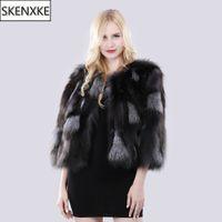 меховая мода россия оптовых-2019 New Winter Women Real Silver  Fur Coat Natural Warm  Fur Jacket Russia Lady Fashion 100% Genuine Outerwear