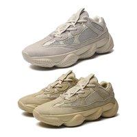 sapatilhas chaveiro venda por atacado-500 Kanye West Tênis de Corrida Blush Desert Rat 500 Super Lua Amarelo Dos Homens Das Mulheres Sapatilha Sapatos de Esportes Com Caixa + Recibo + Keychain + Meias