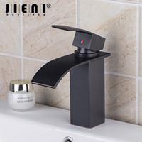 lavabo ağızlığı toptan satış-JIENI Yağ Ovuşturdu Bronz Finish Güverte Üstü Banyo Havzası Mikser Dokunun Musluk Tek Kolu Şelale Musluk Banyo Dokunun
