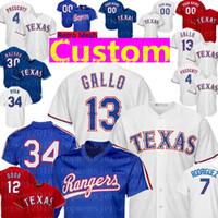 jersey de iván rodríguez al por mayor-Texas Custom Rangers Jersey 1 Elvis Andrus 13 Joey Gallo 34 Nolan Ryan 7 Ivan Rodriguez 4 Dak Prescott 3 Delino DeShields Béisbol