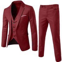 sıska erkekler için yelekler toptan satış-SHUJIN Ince Blazers Pantolon Yelek 3 Parça Sosyal Takım Elbise Erkekler Moda Katı Business Suit Set Rahat Büyük Boy Erkek Düğün Suits 5XL