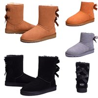 Wholesale sheepskin boots bows online - Deal price winter woman Australia Classic snow boots cheap winter fashion Ankle Boots bailey bow designer shoes size
