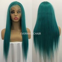 Wholesale pure brazilian human hair wigs for sale - Group buy Pure Teal Full Lace Human Hair Wigs Silky Straight Brazilian Virgin Human Hair Density Lace Front wig With Baby Hair Glueless