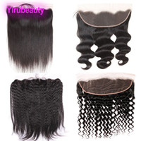 Wholesale brazilian deep kinky hair online - Brazilian Virgin Hair X4 Lace Frontal With Baby Hair Pre Plucked Ear To Ear Body Wave Straight Hair Kinky Straight Deep Wave Curly