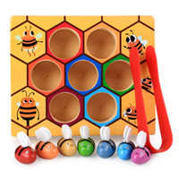 Wholesale bee set baby for sale - Group buy 1 set of Bee And Beehive Matching Game Baby Toy Color Sensory Training Early Educational Toy Color Matched Funny toy