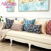 funda de almohada floral azul al por mayor-Avigers colorido planta floral fundas de cojines decorativos caseros fundas de almohada azul rojo negro marrón funda de almohada para sofá sofá de coche