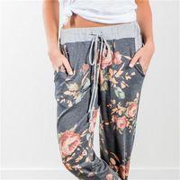 67f37c821424a Loose Casual Pants Mosaic Color Frenulum Knitting Printing Elastic Waist  Long Trousers Women Fashion Home Clothing Hot Sale13ys E1