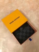 monederos amarillos al por mayor-Diseñador Totes billetera de cuero de alta calidad de lujo de los hombres carteras cortas para mujeres hombres monedero bolsos de embrague titulares de tarjetas con cajas amarillas