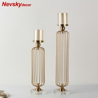 Wholesale metal home decor candle lanterns for sale - Group buy Metal Lanterne Candle Holders Lanterns Gold For Coffee Bar Wedding Decor Christmas Crystal Candle Holder Bougeoir Mariage