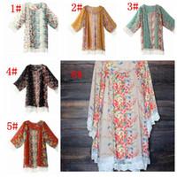 abrigo de encaje kimono al por mayor-Borla de encaje de mujer Patrón de flores Chal Kimono Cardigan Estilo Casual Encaje Gasa Abrigo Abrigo Blusa