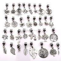 Wholesale mixed style slide charms resale online - Hot Sale Antique silver mixed flowers trees leaves Dangle Beads Fit European Charm Bracelet style p17