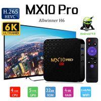 Wholesale android tv box 64 bit resale online - Android TV Box MX10 PRO Quad Core GB GB Allwinner H6 bit Smart Media Player PK TX6 Q PLUS T9