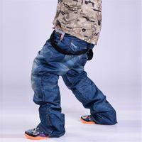 Wholesale winter colored jeans for sale – denim Cool Winter Ski Pants Jean Men Waterproof Windproof Warm Bib Snowboard Pants Male Breathable Skiing Snowboarding Trousers