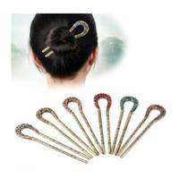 ingrosso forcelle antiche-Antique Love Heart Sticks Relief Disegni Floral Leaves Rhinestones di cristallo stile cinese Hairpin Fashion Jewelry per le donne