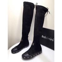 siyah süet dantel toptan satış-Yeni Geliş Moda Lüks Tasarımcı Kadınlar Patik İtalyan Markası Diz Boots Siyah Süet Deri Dantel yukarı Üzeri Uyluk-Yüksek Boots Parti Ayakkabı