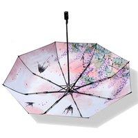 guarda-chuvas de arte chinesa venda por atacado-Arte chinesa Flor e Pássaro Guarda-chuvas Feminino Dobrável Guarda-chuva Mulheres Chuva À Prova de Vento de Alta Qualidade Anti-UV Homens Sol Parasol RG058