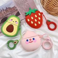 Wholesale plastic case for fruits resale online - Summer Fruit Cute Bluetooth Headset Silicone Case for Airpods Protective Cover with Finger strap ring